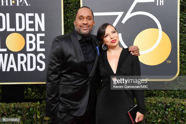75th ANNUAL GOLDEN GLOBE AWARDS Pictured Producer Kenya Barris and Dr Rainbow EdwardsBarris arrive to the 75th Annual Golden Globe Awards held at the...