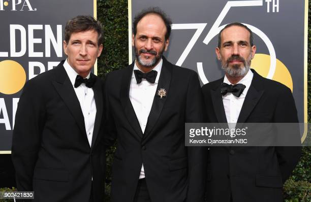 75th ANNUAL GOLDEN GLOBE AWARDS Pictured Producer Peter Spears director Luca Guadagnino and producer Marco Morabito arrive to the 75th Annual Golden...