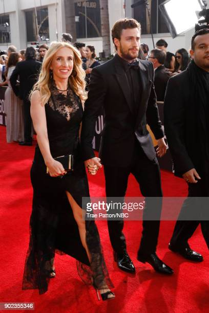 75th ANNUAL GOLDEN GLOBE AWARDS Pictured Sam TaylorJohnson and actor Aaron TaylorJohnson arrive to the 75th Annual Golden Globe Awards held at the...