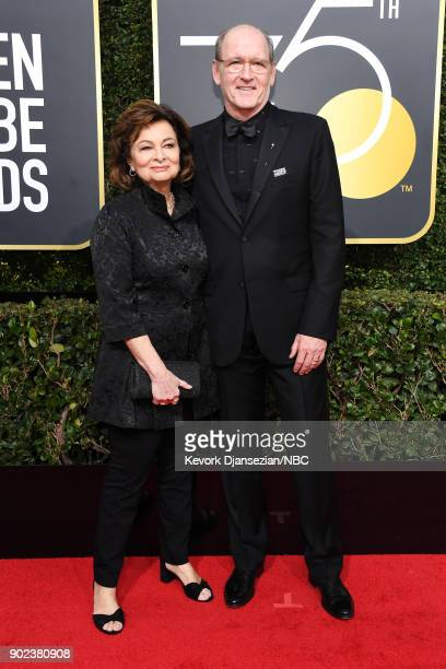 75th ANNUAL GOLDEN GLOBE AWARDS Pictured Sharon R Friedrick and actor Richard Jenkins arrive to the 75th Annual Golden Globe Awards held at the...