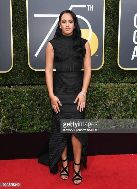 75th ANNUAL GOLDEN GLOBE AWARDS Pictured Simone Garcia Johnson arrives to the 75th Annual Golden Globe Awards held at the Beverly Hilton Hotel on...