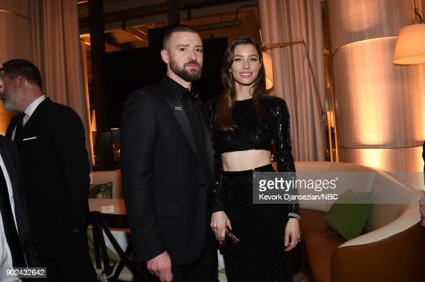 75th ANNUAL GOLDEN GLOBE AWARDS Pictured Singer Justin Timberlake and actor Jessica Biel enjoy NBC and USA Network's postGolden Globe Awards party...