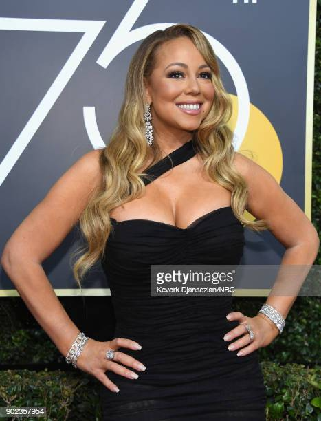 75th ANNUAL GOLDEN GLOBE AWARDS -- Pictured: Singer Mariah Carey arrives to the 75th Annual Golden Globe Awards held at the Beverly Hilton Hotel on...