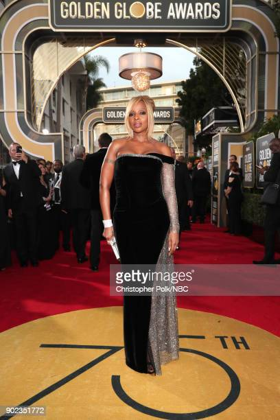 75th ANNUAL GOLDEN GLOBE AWARDS Pictured Singer/actress Mary J Blige arrives to the 75th Annual Golden Globe Awards held at the Beverly Hilton Hotel...