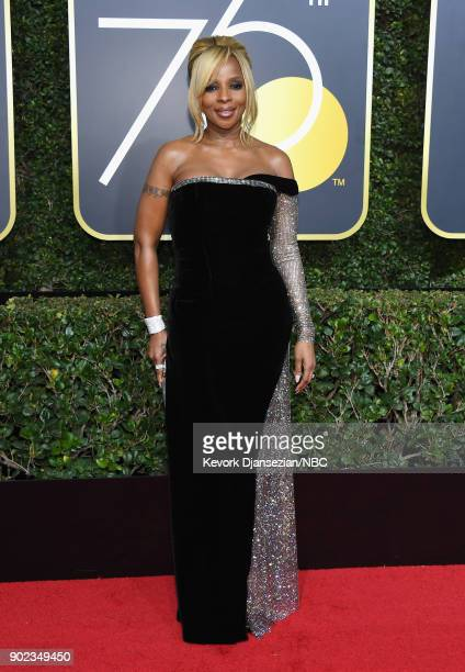 75th ANNUAL GOLDEN GLOBE AWARDS Pictured Singer/songwriter Mary J Blige arrives to the 75th Annual Golden Globe Awards held at the Beverly Hilton...