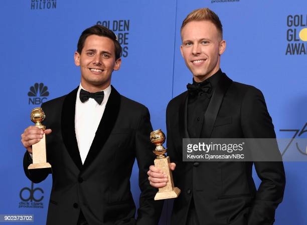 75th ANNUAL GOLDEN GLOBE AWARDS Pictured Songwriter/ composers Benj Pasek and Justin Paul pose with the Best Original Song Motion Picture award for...