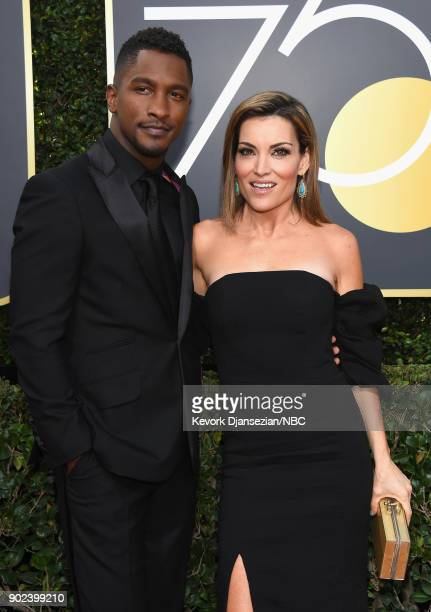 75th ANNUAL GOLDEN GLOBE AWARDS Pictured TV Personalities Scott Evans and Kit Hoover arrive to the 75th Annual Golden Globe Awards held at the...