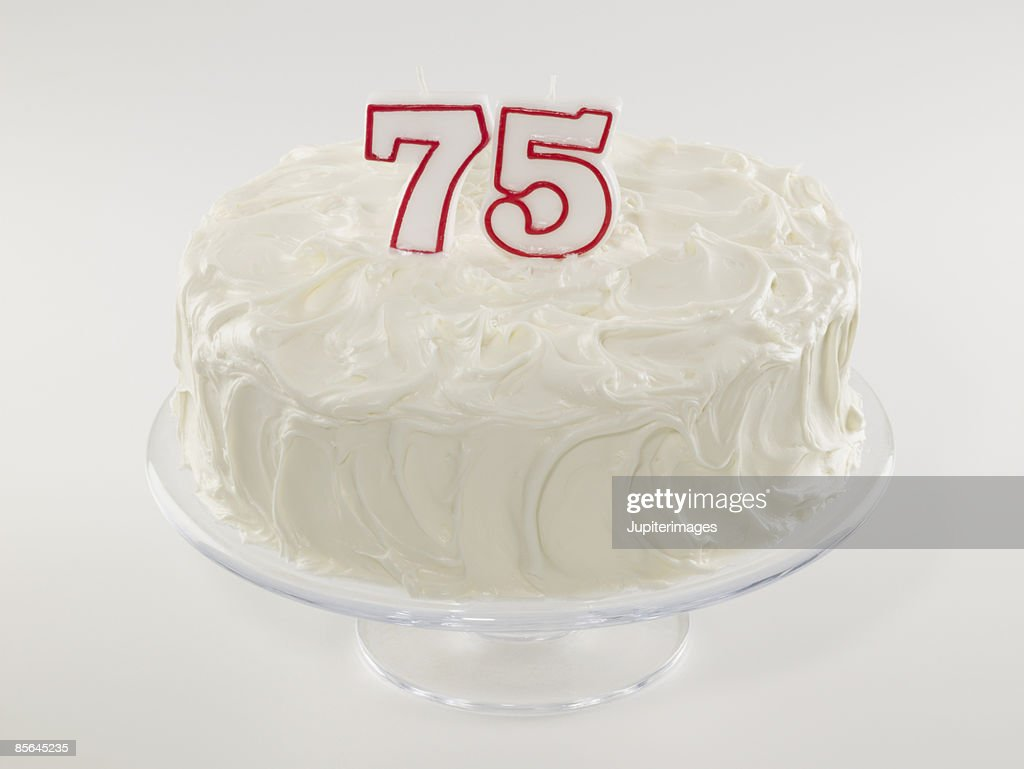 75th Birthday Cake Stock Photo
