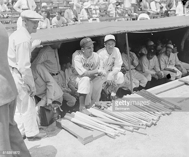 Carl Hubbell and Lefty Grove are shown in the dugout at the AllStar GameComisky Park Chicago