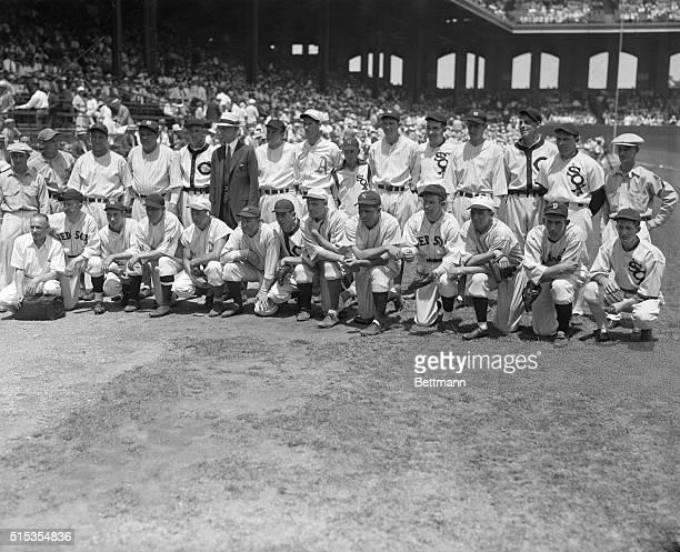 7/6/1933Group photo shows the American League AllStar Baseball players Left to right bottom row Schacht E Collins Lazzeri Crowder Foxx Fletcher...