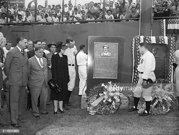 New York City Mayor Fiorello LaGuardia Mrs Lou Gehrig Gehrig's former roommate Bill Dickey and Yankees' manager Joe McCarthy are pictured beside the...
