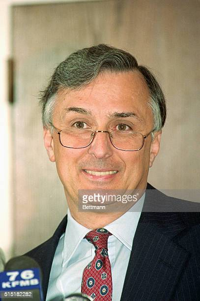 San Diego, CA- Exxon Shipping Company President Gus Elmer looks over his glasses during a press conference announcing that the ill-fated Exxon...