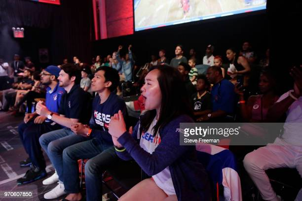 76ers Gaming Club fans reacts during game against Wizards District Gaming during the NBA 2K League Mid Season Tournament on June 9 2018 at the NBA 2K...