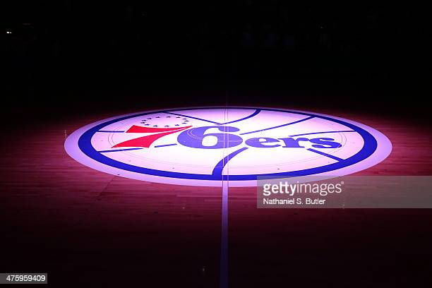 76ers logo during a game at Wells Fargo Center in Philadelphia PA on March 1 2014 NOTE TO USER User expressly acknowledges and agrees that by...