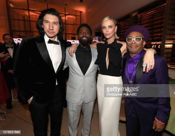 76th ANNUAL GOLDEN GLOBE AWARDS -- Pictured: Adam Driver, John David Washington, Charlize Theron and Spike Lee enjoy the NBCUniversal Golden Globe...