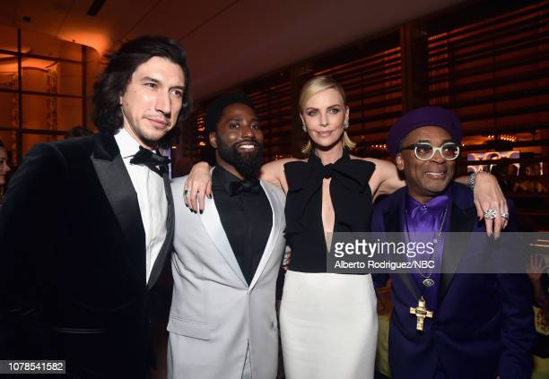 76th ANNUAL GOLDEN GLOBE AWARDS -- Pictured: Adam Driver, John David Washington, Charlize Theron, and Spike Lee enjoy the NBCUniversal Golden Globe...