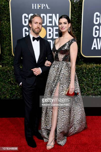 76th ANNUAL GOLDEN GLOBE AWARDS Pictured Adam Shulman and Anne Hathaway arrive to the 76th Annual Golden Globe Awards held at the Beverly Hilton...