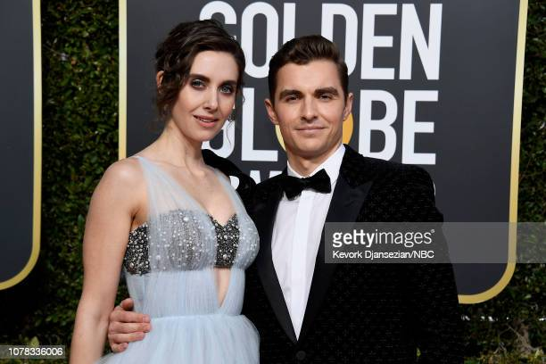 76th ANNUAL GOLDEN GLOBE AWARDS -- Pictured: Alison Brie and Dave Franco arrive to the 76th Annual Golden Globe Awards held at the Beverly Hilton...