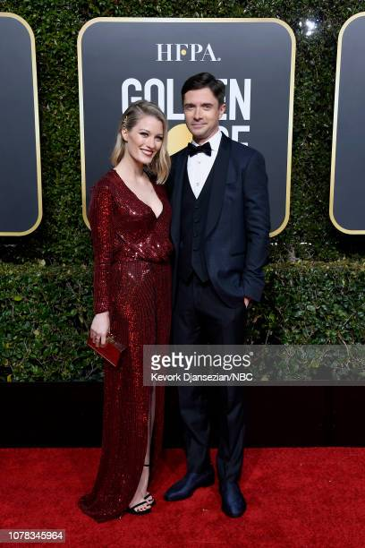 76th ANNUAL GOLDEN GLOBE AWARDS Pictured Ashley Hinshaw and Topher Grace arrive to the 76th Annual Golden Globe Awards held at the Beverly Hilton...