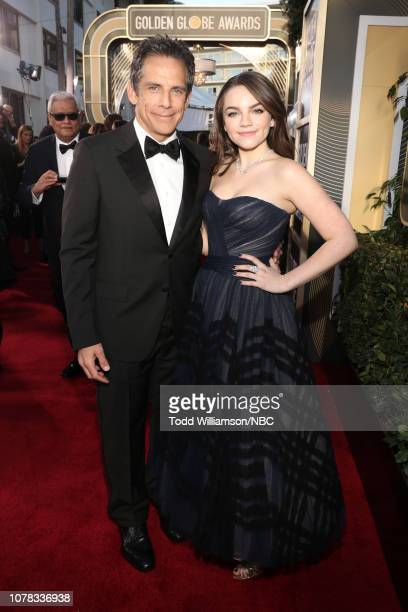 76th ANNUAL GOLDEN GLOBE AWARDS -- Pictured: Ben Stiller and Ella Olivia Stiller arrive to the 76th Annual Golden Globe Awards held at the Beverly...