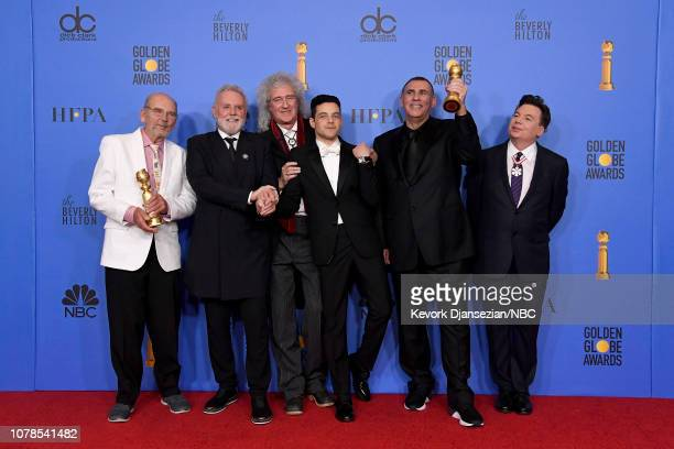76th ANNUAL GOLDEN GLOBE AWARDS Pictured Best Motion Picture Drama winners Jim Beach Roger Taylor and Brian May of Queen Rami Malek Graham King and...