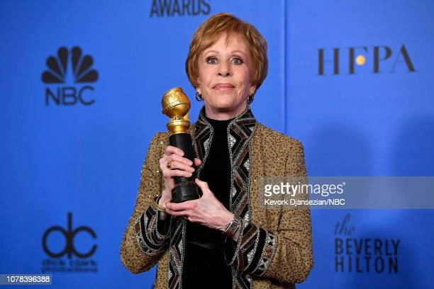76th ANNUAL GOLDEN GLOBE AWARDS Pictured Carol Burnett poses in the press room with the Carol Burnett award at the 76th Annual Golden Globe Awards...