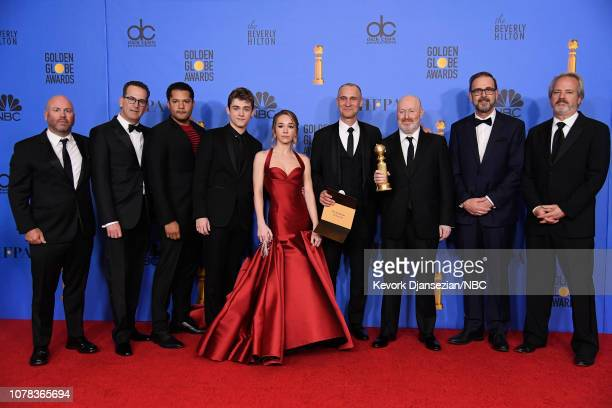76th ANNUAL GOLDEN GLOBE AWARDS Pictured Cast and crew of 'The Americans' pose in the press room with award for Best Television Series Drama at the...