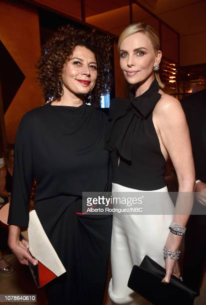 76th ANNUAL GOLDEN GLOBE AWARDS Pictured Donna Langley and Charlize Theron enjoy the NBCUniversal Golden Globe Awards AfterParty Sunday January 6...