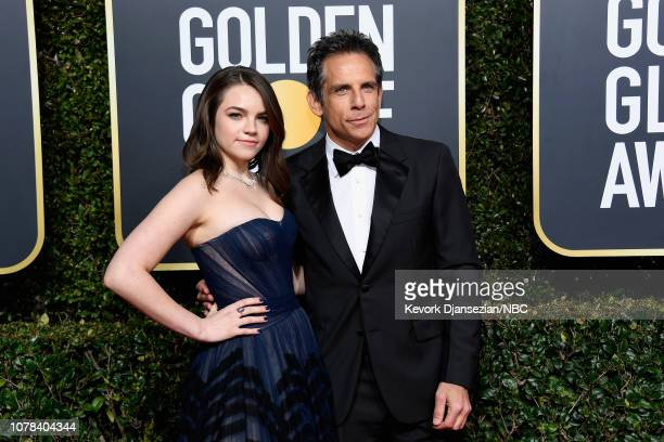 76th ANNUAL GOLDEN GLOBE AWARDS Pictured Ella Stiller and Ben Stiller arrive to the 76th Annual Golden Globe Awards held at the Beverly Hilton Hotel...