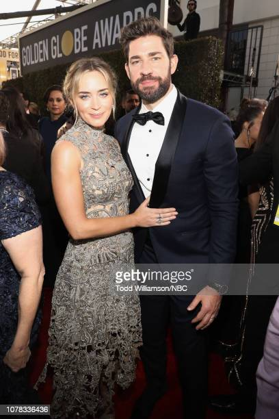 76th ANNUAL GOLDEN GLOBE AWARDS Pictured Emily Blunt and John Krasinski arrive to the 76th Annual Golden Globe Awards held at the Beverly Hilton...