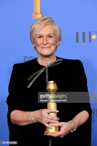 """76th ANNUAL GOLDEN GLOBE AWARDS Pictured Glenn Close of """"The Wife"""" accepts the Best Actress in a Motion Picture – Drama award at the 76th Annual..."""