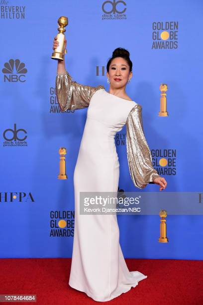 76th ANNUAL GOLDEN GLOBE AWARDS Pictured Host and Best Performance by an Actress in a Television Series Drama 'for Killing Eve' winner Sandra Oh...