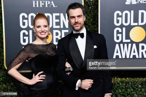 76th ANNUAL GOLDEN GLOBE AWARDS Pictured Jessica Chastain and Gian Luca Passi de Preposulo arrive to the 76th Annual Golden Globe Awards held at the...
