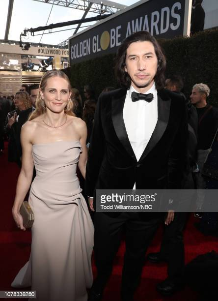 76th ANNUAL GOLDEN GLOBE AWARDS Pictured Joanne Tucker and Adam Driver arrive to the 76th Annual Golden Globe Awards held at the Beverly Hilton Hotel...