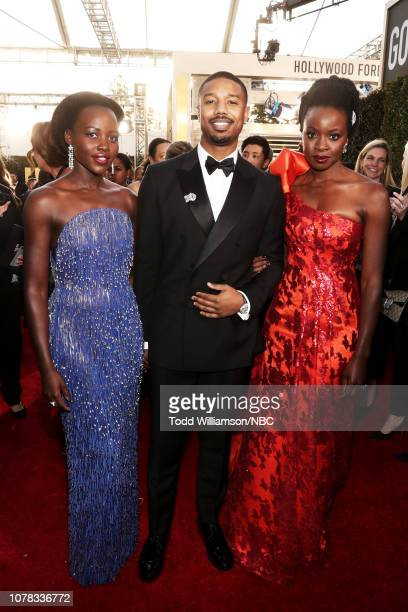 76th ANNUAL GOLDEN GLOBE AWARDS Pictured Lupita Nyong'o Michael B Jordan and Danai Gurira arrive to the 76th Annual Golden Globe Awards held at the...