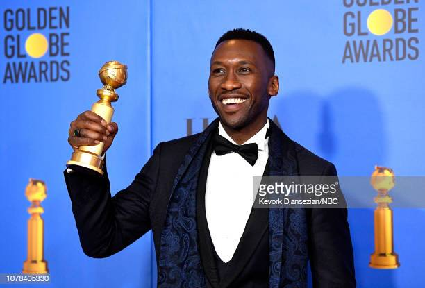 76th ANNUAL GOLDEN GLOBE AWARDS Pictured Mahershala Ali poses in the press room with award for Best Performance by an Actor in a Supporting Role in...