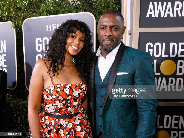 76th ANNUAL GOLDEN GLOBE AWARDS Pictured Sabrina Dhowre and Idris Elba arrive to the 76th Annual Golden Globe Awards held at the Beverly Hilton Hotel...