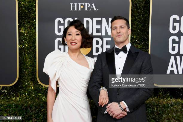 76th ANNUAL GOLDEN GLOBE AWARDS Pictured Sandra Oh and Andy Samberg arrive to the 76th Annual Golden Globe Awards held at the Beverly Hilton Hotel on...
