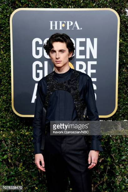76th ANNUAL GOLDEN GLOBE AWARDS Pictured Timothée Chalamet arrives to the 76th Annual Golden Globe Awards held at the Beverly Hilton Hotel on January...