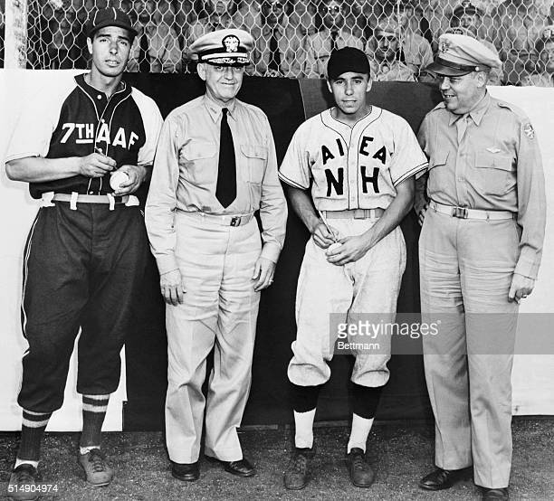 Sgt Joe DiMaggio former New York Yankee great and Chief Specialist Harold H Reese former star shortstop for the Brooklyn Dodgers autograph baseballs...