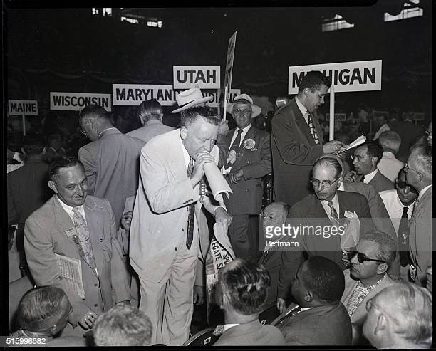 Chicago, Illinois- Arthur Summerfield, chairman of the Michigan GOP delegation to the National Convention , takes a roll call of delegates on the...