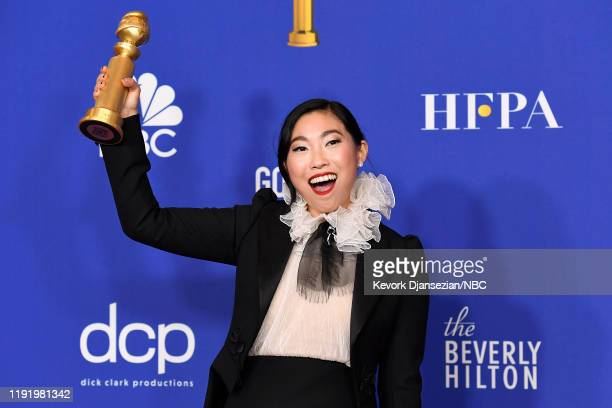 77th ANNUAL GOLDEN GLOBE AWARDS Pictured Actress Awkwafina in the press after winning the award for Best Performance by an Actress in a Motion...