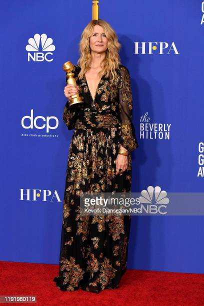 77th ANNUAL GOLDEN GLOBE AWARDS -- Pictured: Actress Laura Dern in the press room after winning the award for Best Supporting Actress in a Motion...