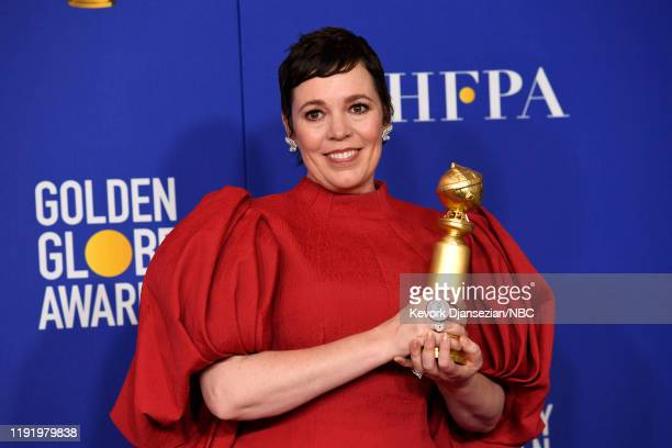 77th ANNUAL GOLDEN GLOBE AWARDS -- Pictured: Actress Olivia Colman in the press room after winning the award for Best Performance by an Actress in a...