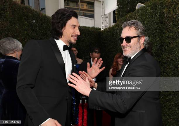 77th ANNUAL GOLDEN GLOBE AWARDS Pictured Adam Driver and Joaquin Phoenix arrive to the 77th Annual Golden Globe Awards held at the Beverly Hilton...
