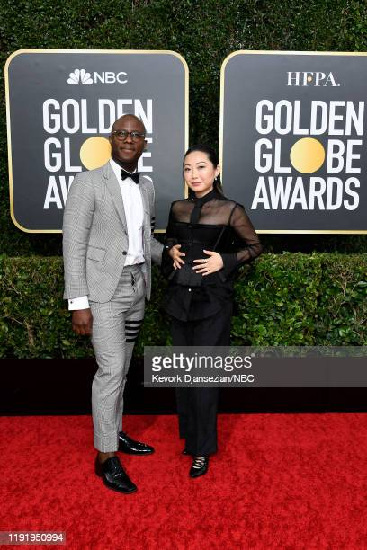 77th ANNUAL GOLDEN GLOBE AWARDS Pictured Barry Jenkins and Lulu Wang arrive to the 77th Annual Golden Globe Awards held at the Beverly Hilton Hotel...