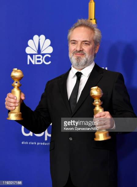 77th ANNUAL GOLDEN GLOBE AWARDS -- Pictured: Best Director - Motion Picture and best Best Motion Picture - Drama winner Sam Mendes in the press room...