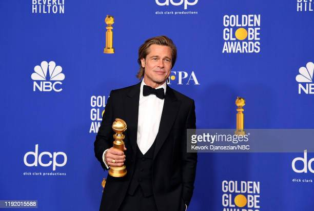 77th ANNUAL GOLDEN GLOBE AWARDS Pictured Brad Pitt poses in the press room after winning the award for Best Performance by an Actor in a Supporting...