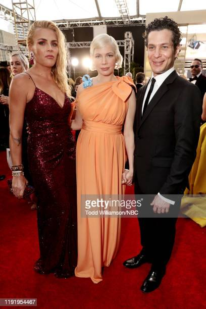77th ANNUAL GOLDEN GLOBE AWARDS Pictured Busy Philipps Michelle Williams and Thomas Kail arrive to the 77th Annual Golden Globe Awards held at the...