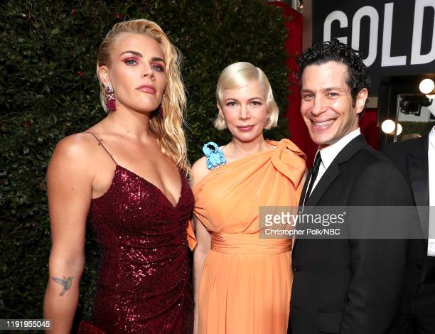 77th ANNUAL GOLDEN GLOBE AWARDS Pictured Busy Philipps Michelle William and Thomas Kail arrive to the 77th Annual Golden Globe Awards held at the...